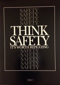 Ironically, I snapped this photo of this safety poster hanging in the UPS office on the way to report my supervisor dropping a 25 pound box on my head.